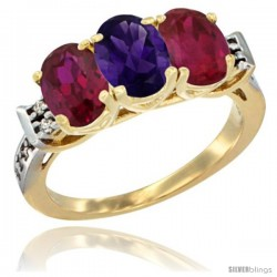 10K Yellow Gold Natural Amethyst & Ruby Sides Ring 3-Stone Oval 7x5 mm Diamond Accent