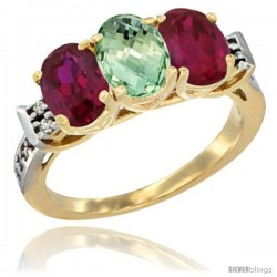 10K Yellow Gold Natural Green Amethyst & Ruby Sides Ring 3-Stone Oval 7x5 mm Diamond Accent