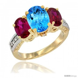 10K Yellow Gold Ladies 3-Stone Oval Natural Swiss Blue Topaz Ring with Ruby Sides Diamond Accent