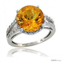 Sterling Silver Diamond Natural Citrine Ring 5.25 ct Round Shape 11 mm, 1/2 in wide