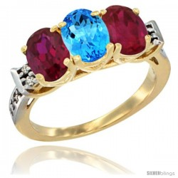 10K Yellow Gold Natural Swiss Blue Topaz & Ruby Sides Ring 3-Stone Oval 7x5 mm Diamond Accent