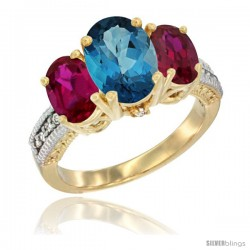 10K Yellow Gold Ladies 3-Stone Oval Natural London Blue Topaz Ring with Ruby Sides Diamond Accent