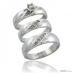 14k White Gold 3-Piece Trio His (7mm) & Hers (5mm) Diamond Wedding Ring Band Set w/ 0.27 Carat Brilliant Cut Diamonds