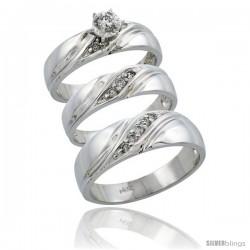 14k White Gold 3-Piece Trio His (7mm) & Hers (5mm) Diamond Wedding Ring Band Set w/ 0.27 Carat Brilliant Cut Diamonds