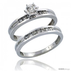 14k White Gold 2-Piece Diamond Engagement Ring Band Set w/ 0.35 Carat Brilliant Cut Diamonds, 1/8 in. (3mm) wide
