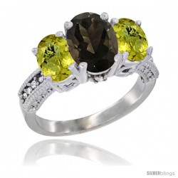 14K White Gold Ladies 3-Stone Oval Natural Smoky Topaz Ring with Lemon Quartz Sides Diamond Accent