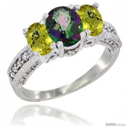 14k White Gold Ladies Oval Natural Mystic Topaz 3-Stone Ring with Lemon Quartz Sides Diamond Accent