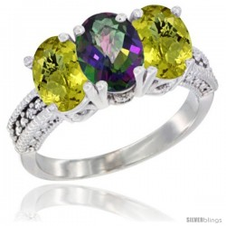 14K White Gold Natural Mystic Topaz Ring with Lemon Quartz 3-Stone 7x5 mm Oval Diamond Accent