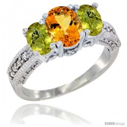 14k White Gold Ladies Oval Natural Citrine 3-Stone Ring with Lemon Quartz Sides Diamond Accent
