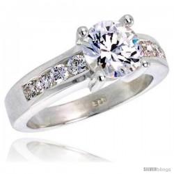 Sterling Silver 1 1/2 Carat Size Brilliant Cut Cubic Zirconia Bridal Ring