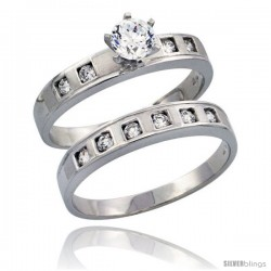 Sterling Silver 2-Piece Engagement Ring Set CZ Stones Rhodium finish 5/32 in. 4 mm