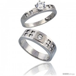 Sterling Silver 2-Piece His 7mm & Her 4mm Engagement Ring Set CZ Stones Rhodium finish