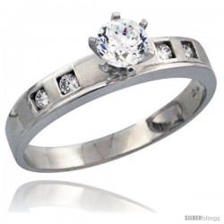 Sterling Silver Engagement Ring CZ Stones Rhodium Finish 5/32 in. 4 mm