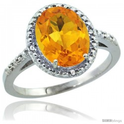 Sterling Silver Diamond Natural Citrine Ring 2.4 ct Oval Stone 10x8 mm, 1/2 in wide -Style Cwg09111
