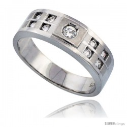 Sterling Silver Men's Wedding Ring CZ Stones Rhodium Finish, 9/32 in. 7 mm