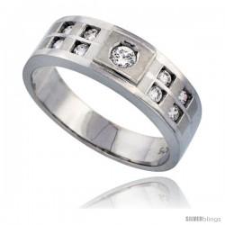 Sterling Silver Men's Wedding Ring CZ Stones Rhodium Finish, 9/32 in. 7 mm
