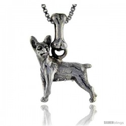 Sterling Silver Miniature Pinscher Dog Pendant