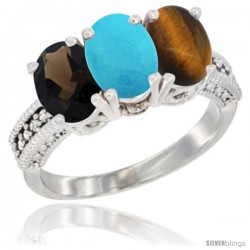 14K White Gold Natural Smoky Topaz, Turquoise & Tiger Eye Ring 3-Stone 7x5 mm Oval Diamond Accent