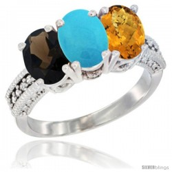 14K White Gold Natural Smoky Topaz, Turquoise & Whisky Quartz Ring 3-Stone 7x5 mm Oval Diamond Accent