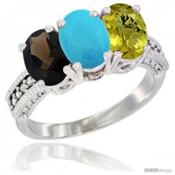14K White Gold Natural Smoky Topaz, Turquoise & Lemon Quartz Ring 3-Stone 7x5 mm Oval Diamond Accent