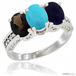 14K White Gold Natural Smoky Topaz, Turquoise & Lapis Ring 3-Stone 7x5 mm Oval Diamond Accent