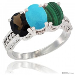14K White Gold Natural Smoky Topaz, Turquoise & Malachite Ring 3-Stone 7x5 mm Oval Diamond Accent