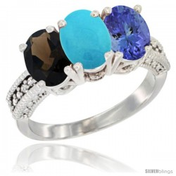 14K White Gold Natural Smoky Topaz, Turquoise & Tanzanite Ring 3-Stone 7x5 mm Oval Diamond Accent