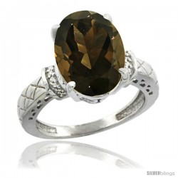 14k White Gold Diamond Smoky Topaz Ring 5.5 ct Oval 14x10 Stone