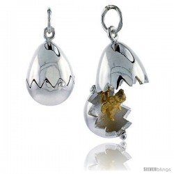 Sterling Silver High Polished Movable Chicken Egg Pendant