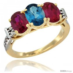 10K Yellow Gold Natural London Blue Topaz & Ruby Sides Ring 3-Stone Oval 7x5 mm Diamond Accent