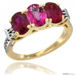 10K Yellow Gold Natural Pink Topaz & Ruby Sides Ring 3-Stone Oval 7x5 mm Diamond Accent