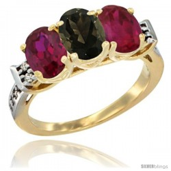 10K Yellow Gold Natural Smoky Topaz & Ruby Sides Ring 3-Stone Oval 7x5 mm Diamond Accent
