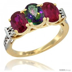 10K Yellow Gold Natural Mystic Topaz & Ruby Sides Ring 3-Stone Oval 7x5 mm Diamond Accent