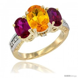 10K Yellow Gold Ladies 3-Stone Oval Natural Citrine Ring with Ruby Sides Diamond Accent