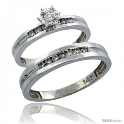14k White Gold 2-Piece Diamond Ring Band Set w/ Rhodium Accent ( Engagement Ring & Man's Wedding Band ), w/ 0.35 Carat