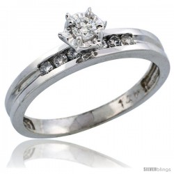 14k White Gold Diamond Engagement Ring w/ 0.20 Carat Brilliant Cut Diamonds, 1/8 in. (3mm) wide