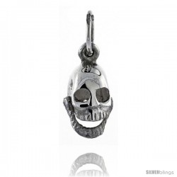 Sterling Silver High Polished Movable Skull Pendant