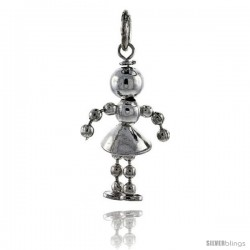 Sterling Silver High Polished Movable Beaded Girl Pendant