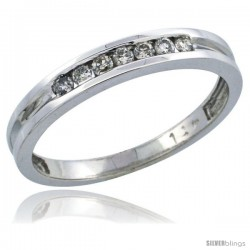 14k White Gold Ladies' Diamond Ring Band w/ 0.15 Carat Brilliant Cut Diamonds, 1/8 in. (3mm) wide