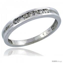 14k White Gold Ladies' Diamond Ring Band w/ 0.15 Carat Brilliant Cut Diamonds, 1/8 in. (3mm) wide