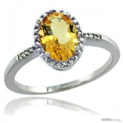 Sterling Silver Diamond Natural Citrine Ring 1.17 ct Oval Stone 8x6 mm, 3/8 in wide