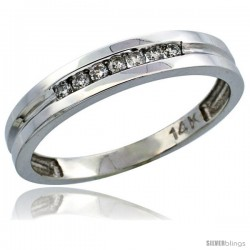 14k White Gold Men's Diamond Ring Band w/ 0.15 Carat Brilliant Cut Diamonds, 5/32 in. (4mm) wide