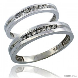 14k White Gold 2-Piece His (4mm) & Hers (3mm) Diamond Wedding Ring Band Set w/ 0.30 Carat Brilliant Cut Diamonds