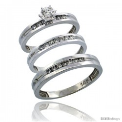 14k White Gold 3-Piece Trio His (4mm) & Hers (3mm) Diamond Wedding Ring Band Set w/ 0.50 Carat Brilliant Cut Diamonds
