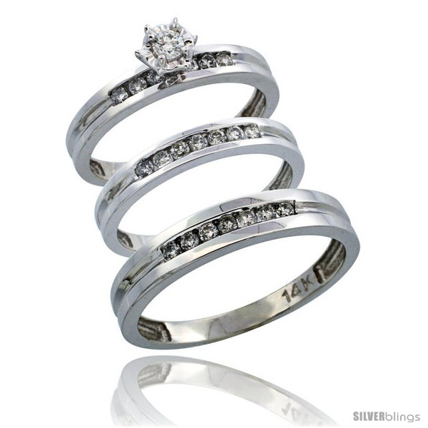 14k White Gold 3 Piece Trio His 4mm Hers 3mm Diamond Wedding Ring Band Set W 0 50 Carat Brilliant Cut Diamonds