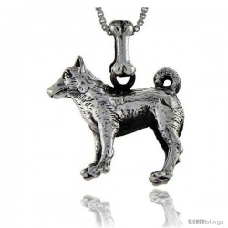Sterling Silver Norwegian Elkhound Dog Pendant