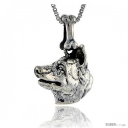 Sterling Silver Norwegian Elkhound Dog Pendant -Style Pa1011
