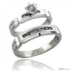 14k White Gold 2-Piece Diamond Ring Band Set w/ Rhodium Accent ( Engagement Ring & Man's Wedding Band ), w/ 0.28 Carat