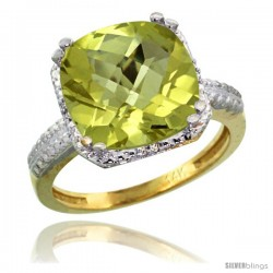 14k Yellow Gold Diamond Lemon Quartz Ring 5.94 ct Checkerboard Cushion 11 mm Stone 1/2 in wide