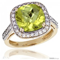 14k Yellow Gold Diamond Halo Amethyst Ring Cushion Shape 10 mm 4.5 ct 1/2 in wide -Style Cy427147